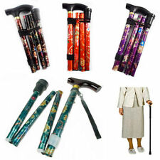 Hiking Walking Stick Adjustable Height WithLight Folding & Flower paint *fldstck