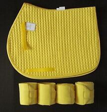 YELLOW English All Purpose A/P or Dressage Saddle Pad & Polo Wrap NEW Horse Gift