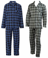 Walker Reid Mens Checked Pyjamas Brushed Cotton Button Up Traditional PJs Set