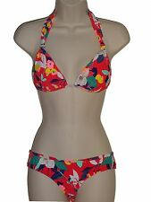 Roxy size M red floral 2pc bikini set swimsuit fixed boost halter boy brief new