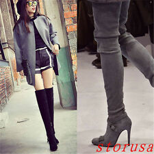 Sexy Women Suede Lady Over Knee High Boots Stiletto Heel Buckle Knight Boots New