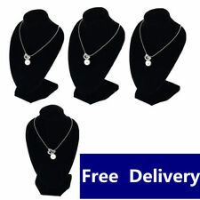 4pcs x Jewellery Necklace Chain Display Bust Velvet Black Holder Stand @UK#F