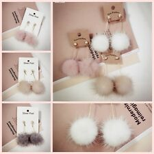 New Cute Eardrop Fashion Simple Cute Fuzzy Mink Hair Ball Long Dangler Earring
