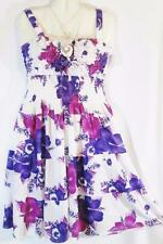 Halter Sundress White Purple Pink Floral Print Tiered Size L Free Shipping to US