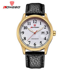 LONGBO Leather Wrist Watches Men's Sport Military Quartz Watch Strap Waterproof