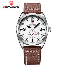 LONGBO Military Wrist Watches Men's Sport Quartz Leather Watch Strap Waterproof