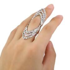 Goth Punk Alloy Rhinestone Hollow Flexible Long Finger Open Knuckle Ring Gift