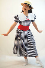 Victorian-Edwardian-DELUXE POLYANNA BLACK & WHITE STRIPED DRESS with BOATER