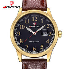 LONGBO Mens Sports Leather Quartz Watch Analog Date Calendar Wrist Watches 80206