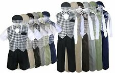 Baby Toddler Boy check Easter Gingham Causal Gift Long Short Vest Set Suit Sm-4T