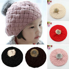 Cute Baby Kids Girls Toddler Winter Warm Knitted Crochet Beanie Hat Beret Cap hs