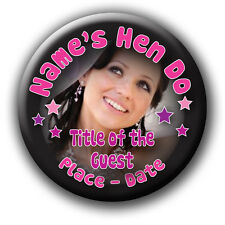 Personalised Photo Birthday or Hen Party Badges & Mirrors - any wording 5 FOR 4