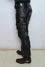 Leather biker jeans pant military cargo Strong cowhide leather nice custom cut