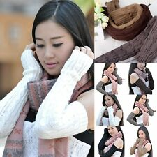 Winter Fashion Knit Crochet Arm Warmer Long Fingerless Gloves Sleeve Mittens