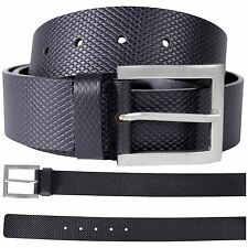 New Mens Black Textured Classic Office Casual Trousers Leather Buckle Belts