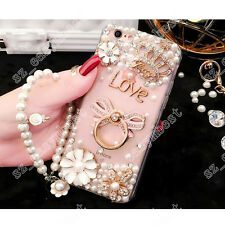 3D Bling Pearl Soft Gel Ring Holder Stand Case Hand Strap Cover for iPhone