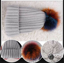 Winter Thick Warm Raccoon Fur Pompom Bobble Ski Hat Knitted Beanie Cap #9