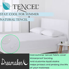 Soft Tencel Jersey Waterproof Fitted Mattress Protector Cover White All Sizes