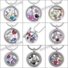 Living Memory Locket Pendant Necklace Themed Floating Charms Birthstone DIY Gift