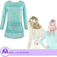 UK Sexy Fashion Vintage Ladies Floral Crochet Long Sleeve Lace Top Shirt Blouse