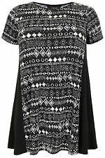 Yoursclothing Plus Size Womens Aztec Print Longline Jersey Top