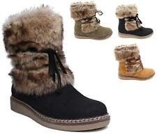 NEW WOMENS LADIES FLAT LOW WEDGE FAUX FUR WINTER ANKLE BOOTS WARM FLEECE SIZE