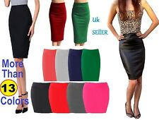 Womens New Stretch Ladies Wiggle Pencil Tube Bodycon Plain Office Midi Skirt*wg
