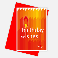 Contemporary happy birthday wishes card for her or him personalised edit name