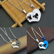 Men Women Lover Couple Necklace I Love You Heart Pendant Stainless Steel Chain