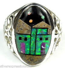 Multicolor & Fire Opal Inlay Pueblo Design 925 Sterling Silver Ring Size 10