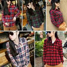 Button Down Plaid & Checks Flannel Casual Lapel Shirt Women Shirt Tops Blouse #