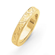 14K Yellow Gold 4mm Floral Etched Design Wedding Band Ring Sizes 5 - 12