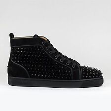 100% Auth Christian Louboutin Louis Orlato Flat Spikes Black Suede Sneakers BNIB