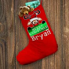 Personalised Christmas Stocking Merry Christmas Reindeer Banner Red