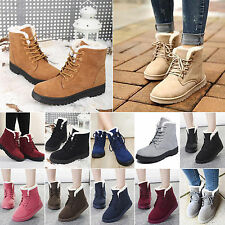 New Womens Winter Fur Lined Lady Martin Trainers Snow Ankle Boots Shoes UK 3.5-7