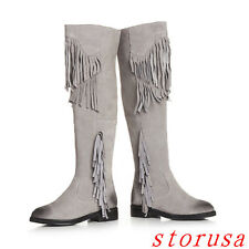 Women Lady Elegant Low Heel Tassel Knee High Boots Casual Suede Gladiator Boots