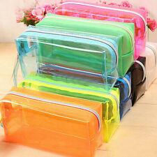 S/L Size Pencil Case Cosmetic Bag Clear Makeup Pouch Zipper Toiletry Holder fUY