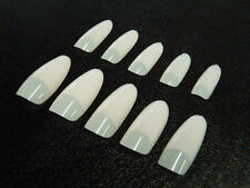 Nail Art Tips, French Stilettos, Glass oval, straight, white, nature, klar