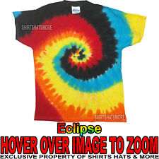 Mens 100% Cotton Eclipse Tie-Dye T-Shirt Adult Tye Die Tee S, M, L, XL NEW!