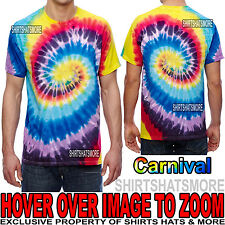 Mens 100% Cotton Carnival Tie-Dye T-Shirt Adult Tye Die Tee S, M, L, XL NEW!