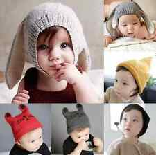 Toddler Girls Boys Crochet Earflap Beanie Hat Newborn Baby Kids Warm Soft Cap HS