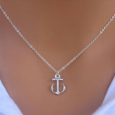 Fashion Silver Simple Anchor Charm Pendant Bib Chain Necklace Women Jewelry EF