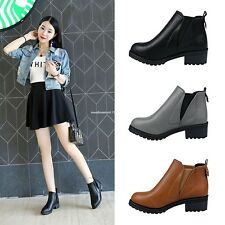 New Women Ladies Fashion Autumn Winter Slip-On Synthetic Leather Ankle Boots