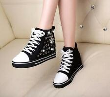 Women Fashion Canvas Shoes High Top Lace Up Wedges Hidden High Heel Sneakers New