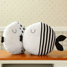 Simple Black And White Fish Pillow Kiss Fish Polka Dot Fish Cushion Doll XD
