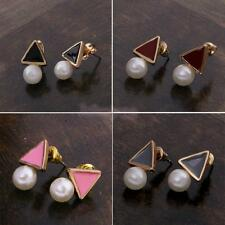 Womens Triangle Golden Plated Alloy Pearl Ball Ear Studs Earrings Party Jewelry
