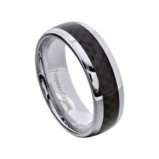 Tungsten Ring 8MM Dome Black Carbon Fiber Men's Jewelry Wedding Ring Size 8-13