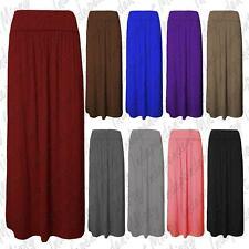New Womens Ladies Celeb Fold Over Waist Full Length Jersey Gypsy Maxi Skirt 8-22