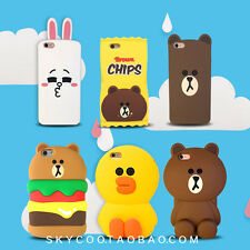 For iPhone 7 7 Plus 6S Cute Bear Bunny 3D Hamburger Silicone Soft Gel Case Cover