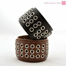 Wide Leather Bracelet Belt Wristband Bangle Cuff Punk Gothic Rocker Unisex Gift